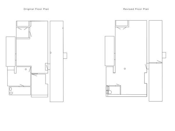 Studio floor plan- before and after